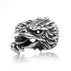 Punk Men's Titanium Eagle Head Ring