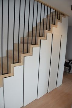 Staircase Storage, House Staircase, Interior Staircase, Interior Architecture, Stair Railing Design, Home Stairs Design, Home Interior Design, House Design, Modern Stairs