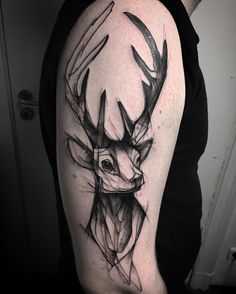Deer sleeve tattoo for men - Inspiring Deer Tattoo Designs Trendy Tattoos, Popular Tattoos, Unique Tattoos, Tattoos For Guys, Cool Tattoos, Tatoos, Men Tattoos, Small Tattoos, Stag Tattoo