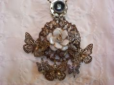 Porcelain Flower and Butterfly Necklace SOLD!~  please visit http://auntieroolooscottage.com