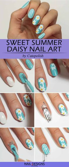 DIY nails are a great way to keep yourself busy while you are sitting at home. Besides, they will ensure that your manicure looks effortlessly flawless. Check out our guide for easy yet beautiful nail tutorials to recreate at home. Daisy Nail Art, Daisy Nails, Baby Blue Nails, Coral Nails, Cute Simple Nails, Perfect Nails, Diy Nail Designs, Simple Nail Designs, Art Designs