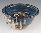 Jewelry Bowl - Earring Holder - In Stock- Handmade in Denim Blue Glaze from Neal Pottery