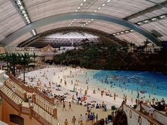 ARTIFICIAL BEACH:  The Ocean Dome at Sheraton Seagaia Resort in Japan opened in 1993.  It has a flame-spitting volcano, artificial sand and palm trees and the world's largest retractable roof.  The water is temperature controlled.