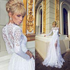 Vestido de noiva de alta Long Neck Sleeve vestido de noiva A linha Tulle Custom Made moda noivas vestido 2014 casamento robe de mariee em Vestidos de noiva de Casamentos e Eventos no AliExpress.com | Alibaba Group