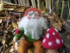 Needle Felted Autumn Toadstool Gnome Autumn/Fall by CareyBrett