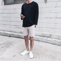 Nice style by hong_bro Korean Fashion Summer, Korean Fashion Men, Korea Fashion, Korean Men, High Fashion, Mens Fashion, Fashion Shorts, Summer Outfits Men, Korean Outfits