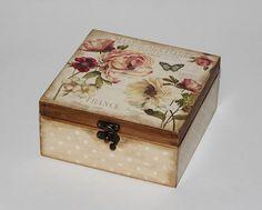 Box for tea Wooden tea box Tea storage box Tea chest Tea bag storage Tea bag holder Wood tea box Tea caddy Tea gift box Tea lover gift Decoupage Vintage, Decoupage Box, Wooden Tea Box, Wooden Boxes, Tea Bag Storage, Tea Organization, Shabby, Tea Gifts, Altered Boxes