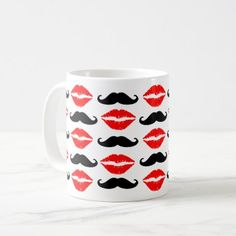 Lip and Mustache Print Mug - home gifts ideas decor special unique custom individual customized individualized