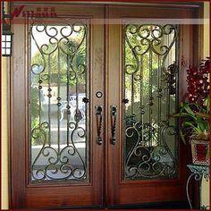 Double door wood wrought iron entry door Double Front Entry Doors, Iron Front Door, Wood Entry Doors, Glass Front Door, Entrance Doors, Wooden Doors, Front Door Design, Front Door Decor, Exterior Doors For Sale
