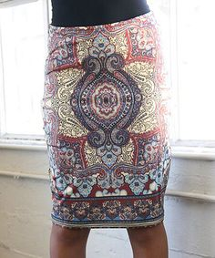 This White Mark Brown & Yellow Barbara Pencil Skirt by White Mark is perfect! #zulilyfinds