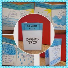 """...Another activity they loved was the story """"Drop's trip"""". It is the story of a drop of water and where it travels, going from the sea to the air, forming a cloud and coming back again to the sea. I did the activity on the first photo but I also had it to form a mini book..."""
