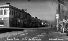 Route 66 in Victorville, California. Courtesy of the Security Pacific National Bank Collection - Los Angeles Public Library. Route 66 Trip, Old Route 66, California History, California Dreamin', Victorville California, Los Angeles Map, San Bernardino County, Easy Rider, Places To Go