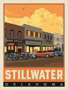 Anderson Design Group – American Travel – American College Towns: Stillwater, OK Vintage Travel Posters, Poster Vintage, Tourist Info, Wisconsin, Michigan, Illustration Techniques, Nebraska, Oklahoma, Paint By Number