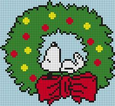 Snoopy Wreath (from Peanuts) Square Grid Perler Bead Pattern / Bead Sprite Pearler Bead Patterns, Hama Beads Patterns, Beading Patterns, Kandi Patterns, Snoopy Christmas, Christmas Cross, Xmas, Beaded Snoopy, Cross Stitch Patterns