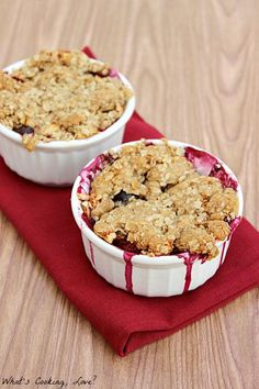 Blueberry Apple crumble for 2. Yum! I added sliced almonds to the topping and served with whip cream.