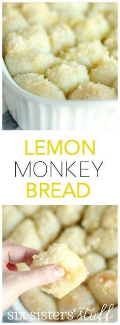Easy Lemon Monkey Bread from SixSistersStuff.com | Delicious rolls covered in a sweet, lemony glaze! Try this for a delicious, amazing Christmas Morning breakfast!