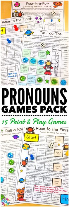 """LOVE these low-prep games! My students have so much fun playing them!""This Pronouns Games Pack contains 15 fun and engaging printable board games to help students to practice personal pronouns, possessive pronouns, demonstrative pronouns, indefinite pronouns, interrogative pronouns, reflexive pronouns, relative pronouns, and pronoun-antecedent agreement!"
