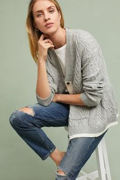 Anthropologie Swing Cable Cardigan