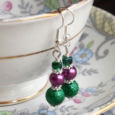 Glass bead earrings - 'Wimbledon' - dark green and purple