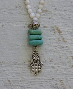 crystal healing hamsa necklace turquoise protection necklace by yogabytheseadesigns