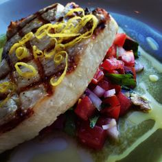 Grilled line caught Au with lemon-grass salsa and fragrant basil water