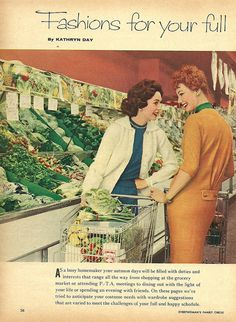 Stylish fall fashions from 1958 modeled in the produce section. #vintage #1950s #supermarket #grocery_store