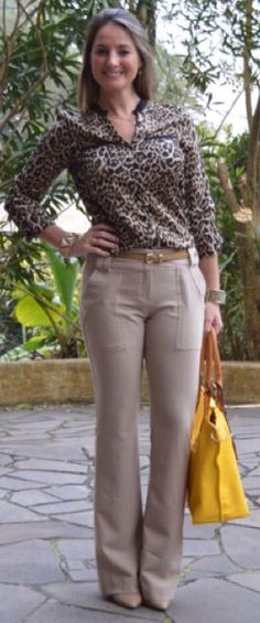 Look do dia - look de trabalho - workwear - work outfit - fall outfit - moda corporativa - calça social - animal print - bolsa amarela - yellow - leopard - scarpin - pants