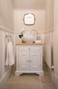 Washstand - perfect for small space. Neptune Washstand – perfect for small space. Neptune Washstand – perfect for small space. Bad Inspiration, Bathroom Inspiration, Bathroom Storage, Bathroom Interior, Bathroom Organization, Bathroom Furniture, Neptune Bathroom, Bathroom Sinks, Bedroom Vanities