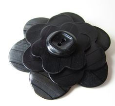 Recycled Record Vinyl Brooch Black on Black by MissCourageous, $15.00