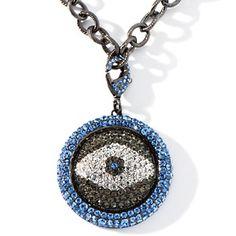 """Joan Boyce Crystal """"Angel Eye"""" Pavé Crystal Enhancer Pendant with 18"""" Chain at HSN.com."""