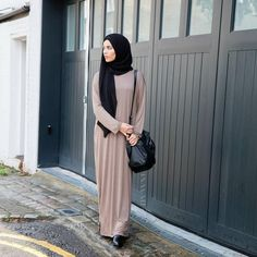 INAYAH | Black Georgette #Hijab + Mink Casual T-shirt #Abaya www.inayahcollection.com