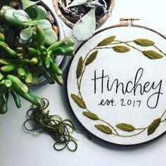 Greenery Wreath Last Name Embroidery // Custom Gift // Wedding