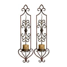 Uttermost 20987 Privas Candle Wall Sconces Set of 2 Mahogany Rust And Olive Bronze Home Decor Accents Candle Holders Wall Candle Holders, Candle Wall Sconces, Wrought Iron Decor, Iron Wall Decor, Tuscan Decorating, Outdoor Wall Sconce, Home Decor Accessories, Metal Walls, Accent Decor