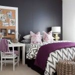 black and white bedroom ideas with purple accents