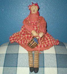 Primitive Raggedy Ann Doll Handmade Homespun by WillowsNest, $14.00