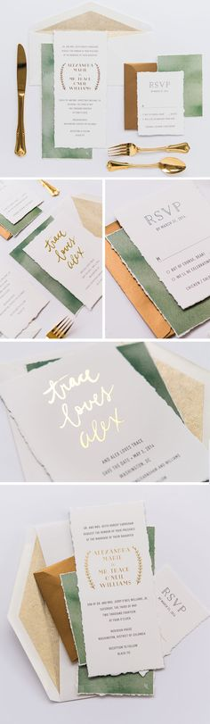 Simple color palate with gold for wedding stationary suite. Tan, green and gold wedding invitations, menus and more.