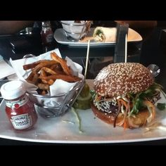 Lunchtime at Wave! Sesame encrusted Ahi Tuna burger with Asian slaw and wasabi aioli. Bellissimo! Wave at the W Chicago Lakeshore, Chicago