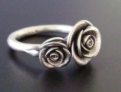 Double-Rose Ring - Handsculpted, Cast Sterling Silver -- Would make a beautiful, romantic, unusual engagement ring!! <3 Or even just an 'everyday' ring. :)