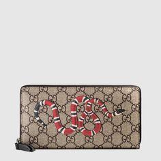f738c74edc18 Gucci Snake print GG Supreme zip around wallet Zip Wallet, Gucci Wallet, Purse  Wallet