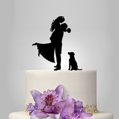 bride and groom sihouette wedding cake topper with dog
