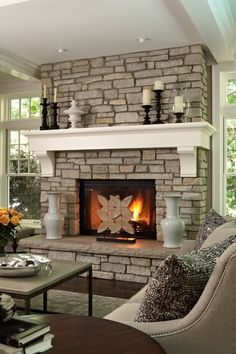 traditional mantle on rustic fireplace - love - Click image to find more Home Decor Pinterest pins