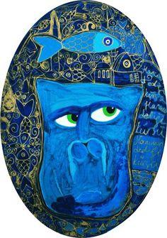 Fish dreams / Cattoman Empire.                 Oil on Canvas. 35x75cm. Oval