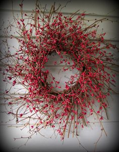 Red Colored Pip Berry Wreath 24 Made in by UniqueDesignsFromSC