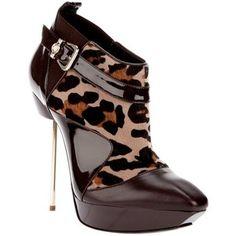 Versace brown leopard stiletto boot