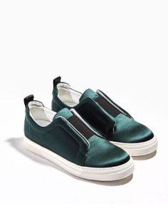 Emerald green satin Slider Pierre Hardy sneaker.