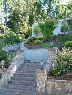 Steep Brick-lined Stairs