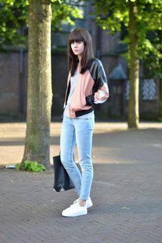 Leather bomber jacket: ASOS  / Tee: American Apparel  / Jeans: Zara / Flatform sneakers: ASOS / Bag: Alexander Wang