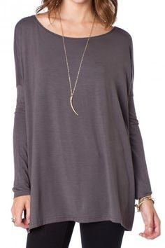 Cozy Long Sleeve Top in Slate