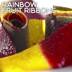 Healthy Snacks Rainbow Eats: Rainbow Fruit Ribbon - These rainbow fruit ribbons are made from four different kinds of fruit and are just as much fun to make as they are to eat. Fruit Snacks, Fruit Recipes, Baby Food Recipes, Healthy Snacks, Dessert Recipes, Cooking Recipes, Healthy Fruits, Fruit Drinks, Dehydrated Food Recipes