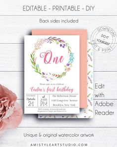 One Birthday Kids Party Invite, with adorable and charming hand-painted watercolor floral wreath design in bohemian style.This nice birthday party invite template is an instant download EDITABLE PDF so you can download it right away, DIY edit and print it at home or at your local copy shop by Amistyle Art Studio on Etsy